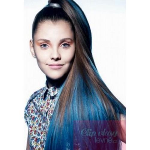 20 Inch 50cm Clip In Human Hair Streak Blue