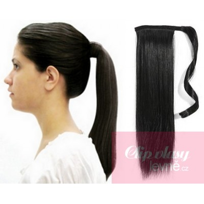 Clip in ponytail wrap hair extensions 24 inch straight - black