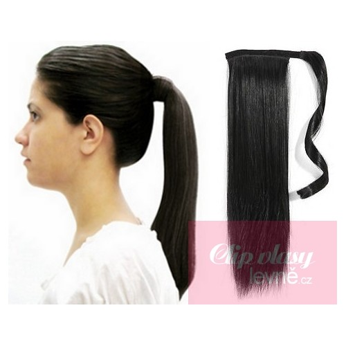 Clip In Ponytail Wrap Hair Extensions 24 Inch Straight Black