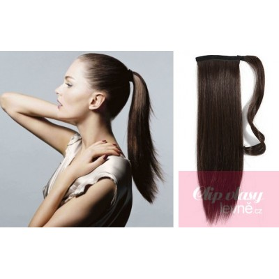 Clip in ponytail wrap hair extensions 24 inch straight - dark brown