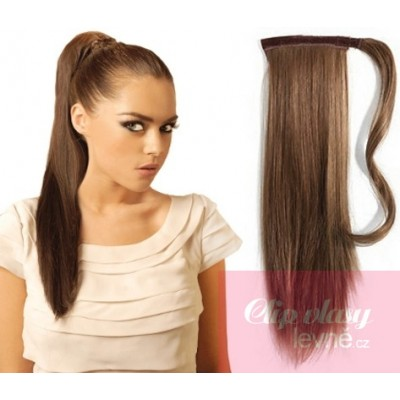 Clip in ponytail wrap hair extensions 24 inch straight - medium brown