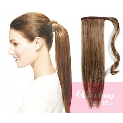 Clip in ponytail wrap hair extensions 24 inch straight - light brown
