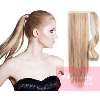 Clip in ponytail wrap hair extensions 24 inch straight - natural blonde