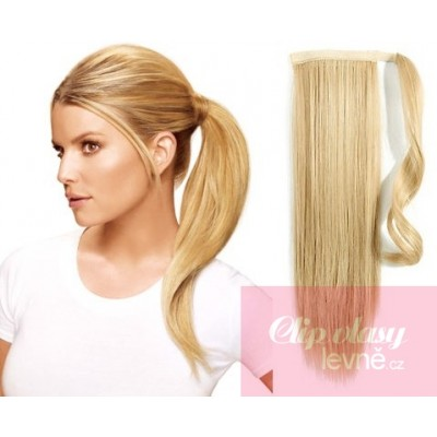 Clip in ponytail wrap hair extensions 24 inch straight - the lightest blonde