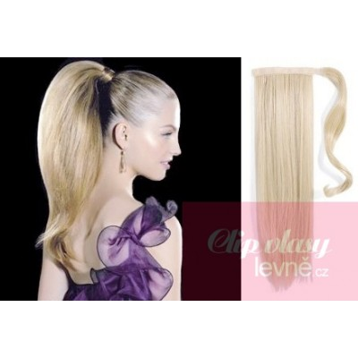 Clip in ponytail wrap hair extensions 24 inch straight - platinum blonde