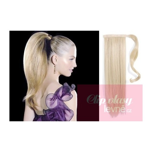 Clip In Ponytail Wrap Hair Extensions 24 Inch Straight Platinum Blonde