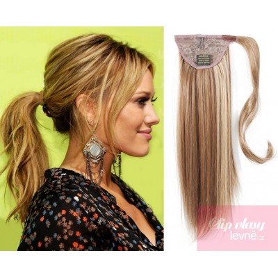 Clip in ponytail wrap hair extensions 24 inch straight - mixed blonde