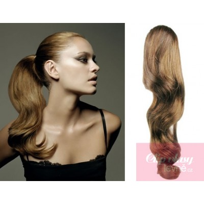 Clip in ponytail wrap hair extensions 24 inch wavy - light brown