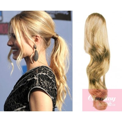Clip in ponytail wrap hair extensions 24 inch wavy - natural blonde