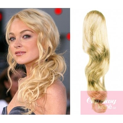 Clip in ponytail wrap hair extensions 24 inch wavy - the lightest blonde