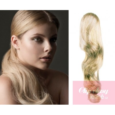 Clip in ponytail wrap hair extensions 24 inch wavy - platinum blonde