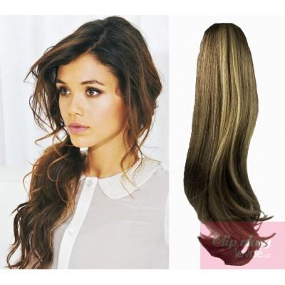 Clip in ponytail wrap hair extensions 24 inch wavy - dark brown/blonde