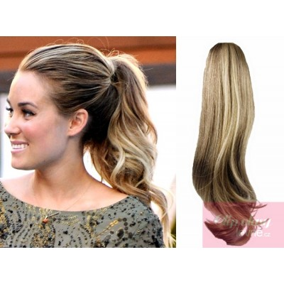 Clip in ponytail wrap hair extensions 24 inch wavy - mixed blonde