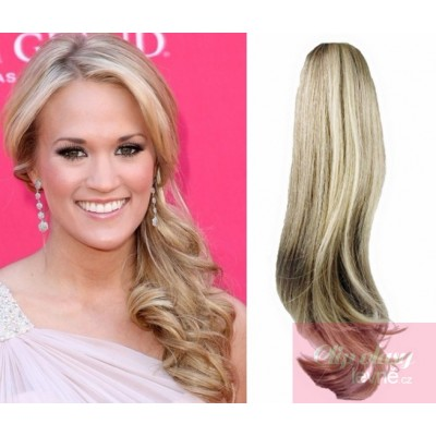 Clip in ponytail wrap hair extensions 24 inch wavy - platinum/light brown