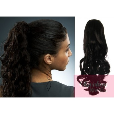 Clip in ponytail wrap hair extensions 24 inch curly - black