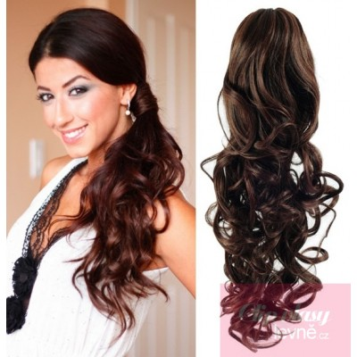 Clip in ponytail wrap hair extensions 24 inch curly - dark brown