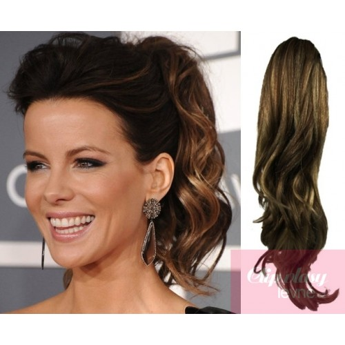Clip In Ponytail Wrap Hair Extensions 24 Inch Curly Dark Brownblonde