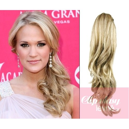 Clip In Ponytail Wrap Hair Extensions 24 Inch Curly Platinumlight