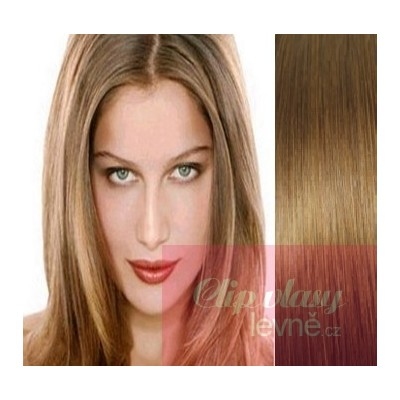 20 inch (50cm) Clip in human REMY hair - light brown