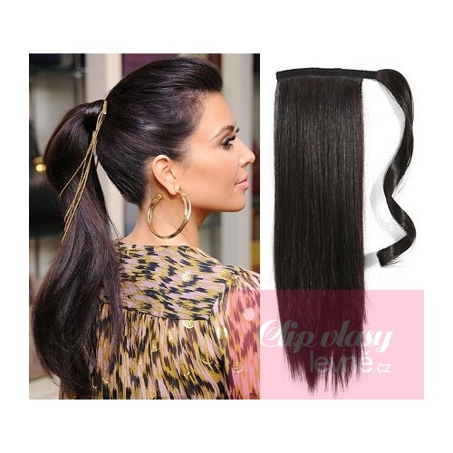 Clip In Ponytail Wrap Hair Extensions 24 Inch Straight Natural Black