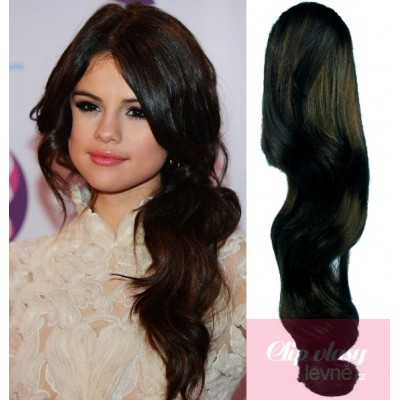 Clip in ponytail wrap hair extensions 24 inch wavy - natural black