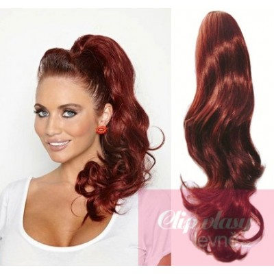 Clip in ponytail wrap hair extensions 24 inch wavy - copper red