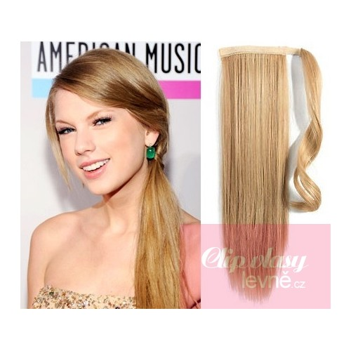 Clip In Ponytail Wrap Hair Extensions 24 Inch Straight Light