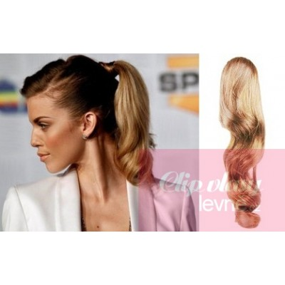 Clip in ponytail wrap hair extensions 24 inch wavy - light blonde/natural blonde