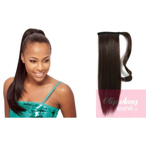 Clip In Human Hair Ponytail Wrap Hair Extension 20 Inch Straight