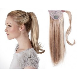 Clip in human hair ponytail wrap hair extension 24 inch straight - platinum blonde/light brown