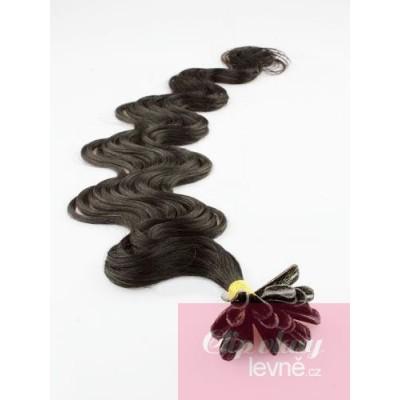 24 inch (60cm) Nail tip / U tip human hair pre bonded extensions wavy - natural black