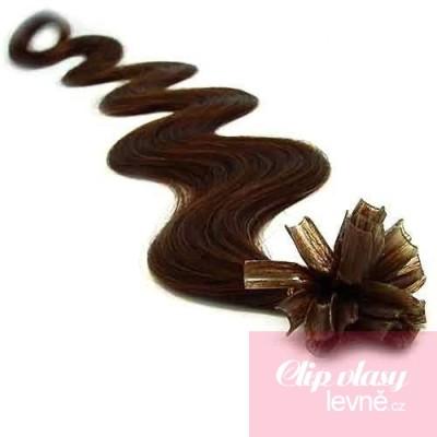 24 inch (60cm) Nail tip / U tip human hair pre bonded extensions wavy - dark brown