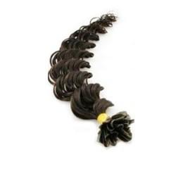 24 inch (60cm) Nail tip / U tip human hair pre bonded extensions curly - natural black
