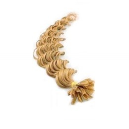 24 inch (60cm) Nail tip / U tip human hair pre bonded extensions curly - natural blonde