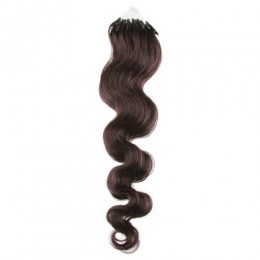 24 inch (60cm) Micro ring / easy ring human hair extensions wavy - natural black