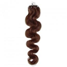24 inch (60cm) Micro ring / easy ring human hair extensions wavy - medium brown