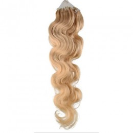 24 inch (60cm) Micro ring / easy ring human hair extensions wavy - natural blonde