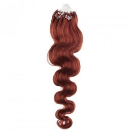 24 inch (60cm) Micro ring / easy ring human hair extensions wavy - copper red