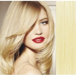 16 inch (40cm) Clip in human REMY hair 100g - the lightest blonde