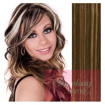 20 inch (50cm) Clip in human REMY hair - dark brown/blonde