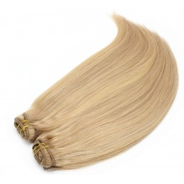 24 inch (60cm) Deluxe clip in human REMY hair - light blonde/natural blonde