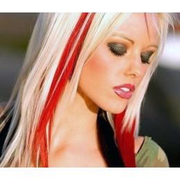 20 inch (50cm) clip in human hair streak - red