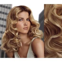 Clip in kudrnaté vlasy 100% lidské REMY 53cm - přírodní/světlejší blond