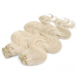 20 inch (50cm) Deluxe wavy clip in human REMY hair - platinum blonde