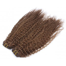 20 inch (50cm) Deluxe curly clip in human REMY hair - medium brown