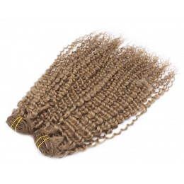 20 inch (50cm) Deluxe curly clip in human REMY hair - light brown