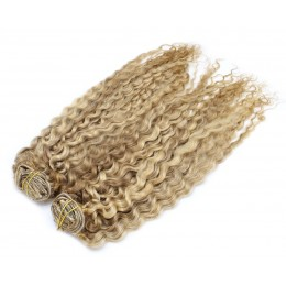 20 inch (50cm) Deluxe curly clip in human REMY hair - mixed blonde