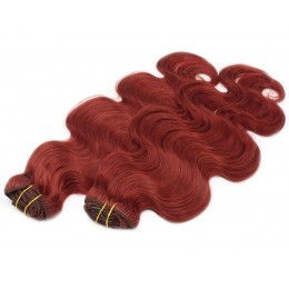 20 inch (50cm) Deluxe wavy clip in human REMY hair - copper red