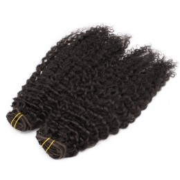 20 inch (50cm) Deluxe curly clip in human REMY hair - natural black