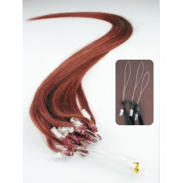 20 inch (50cm) Micro ring remy human hair extensions - copper red